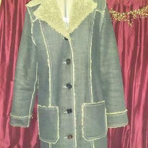 Long Dark Denim jean jacket line by Sergio Valente